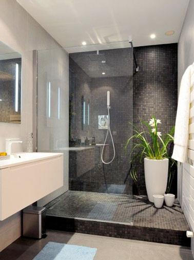 Douche Italienne en carrelage noir dans une salle-de-bain Design