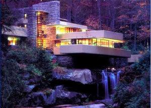 Maison moderne de nuit